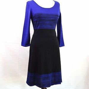 Worthington sweater dress in blue and black